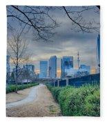 Skyline Of A Big City In South - Charlotte Nc Fleece Blanket