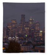 Skylines At Dusk, Seattle, King County Fleece Blanket