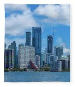 Skylines At The Waterfront, Miami Fleece Blanket