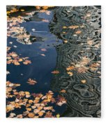 Skyscrapers' Reflections And Fallen Autumn Leaves Fleece Blanket