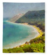 Sleeping Bear Dunes Lakeshore View Fleece Blanket