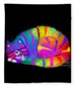 Sleepy Colorful Cat Fleece Blanket