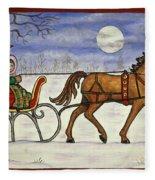 Sleigh Ride With Grandpa Fleece Blanket