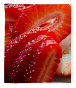 Sliced Strawberries Fleece Blanket