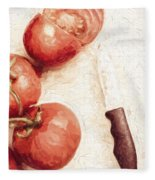 Sliced Tomatoes. Vintage Cooking Artwork Fleece Blanket