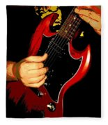 Red Gibson Guitar Fleece Blanket