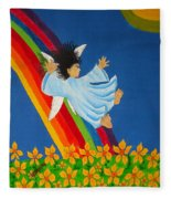 Sliding Down Rainbow Fleece Blanket