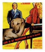 Sloughi Art - Love Is My Profession Movie Poster Fleece Blanket