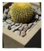 Small Barrel Cactus In Planter Fleece Blanket