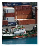 Small Boat With Cargo Containers Fleece Blanket