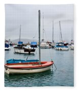 Small Boats At Lyme Regis Harbour Fleece Blanket
