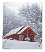 Small Cabin In The Snow Fleece Blanket