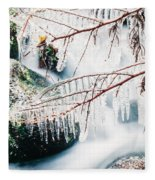 Small Creek Freezing Up Forming Icicles Fleece Blanket
