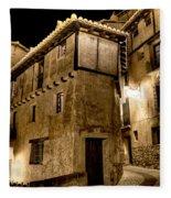 Small House In Albarracin At Night Fleece Blanket