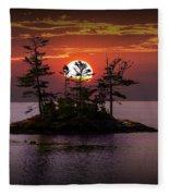 Small Island At Sunset Fleece Blanket