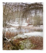 Small Lake In The Snow Fleece Blanket