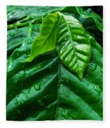 Small Leaves With Water Drops Fleece Blanket
