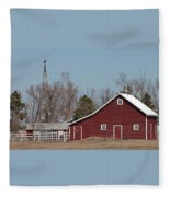 Small Red Barn With Windmill Fleece Blanket