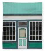 Small Store Front Entrance To Green Wooden House Fleece Blanket