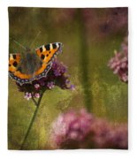 Small Tortoiseshell Butterfly Fleece Blanket