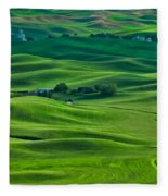 Small Town In The Lush Green Hills Fleece Blanket