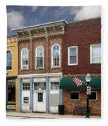 Small Town Main Street Shops Fleece Blanket