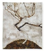 Small Tree In Late Autumn Fleece Blanket
