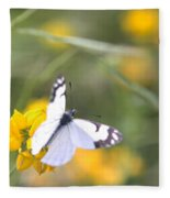 Small White Butterfly On Yellow Flower Fleece Blanket