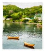 Small Yellow Boats Fleece Blanket