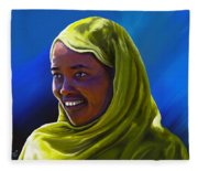Smiling Lady Fleece Blanket