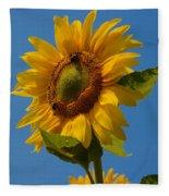 Smiling Sunflower Fleece Blanket by Nancy De Flon