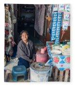 Smiling Vendor Fleece Blanket