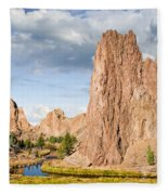 Smith Rock And The Crooked River Fleece Blanket