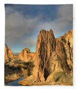 Smith Rock Foggy Morning Fleece Blanket