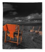 Smoke Break In The Ruins Black And White Fleece Blanket