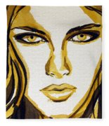 Smokey Eyes Woman Portrait Fleece Blanket
