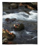 Smokey Mountain Stream In Autumn No.2 Fleece Blanket
