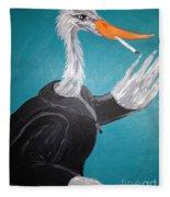 Smoking Egret In Leather Jacket Fleece Blanket