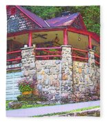 Old Log Cabin - Smoky Mountain Home Fleece Blanket