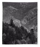 Smoky Mountain View Black And White Fleece Blanket