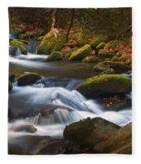 Smoky Mtn Autumn Stream Fleece Blanket