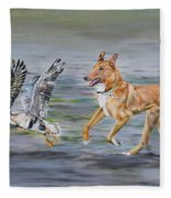 Smooth Collie Trying To Herd Geese Fleece Blanket