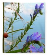 Snail On Flowers Fleece Blanket