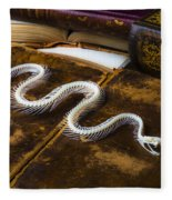 Snake Skeleton And Old Books Fleece Blanket