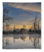 Dawn On The Snohomish Fleece Blanket
