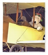Snoopy In His Biplane Fleece Blanket