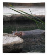 Snorkeling Hippo Fleece Blanket