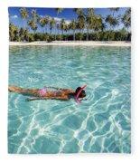 Snorkeling In Polynesia Fleece Blanket