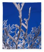 Snow And Ice Coated Branches Fleece Blanket
