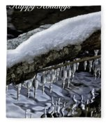 Snow And Icicles Happy Holidays Card Fleece Blanket